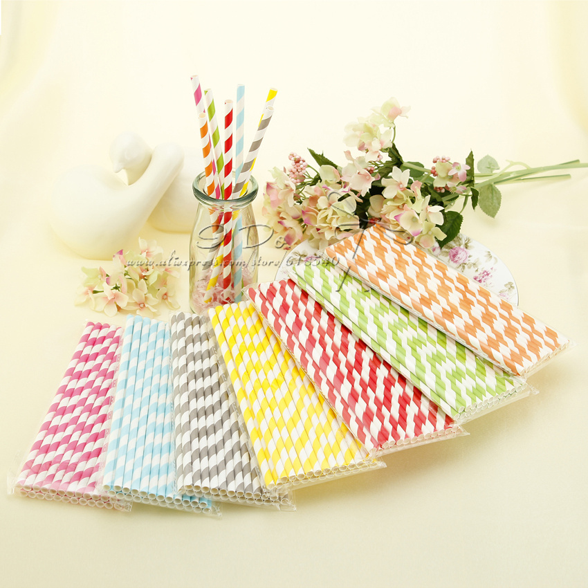 Free Shipping Garden Theme 1000pcs Striped Paper Straws