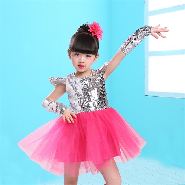 14Color Girls Jazz Dance Kids Dress Sequin Short Sleeve Princess Tutu Mesh Stage Performance Clothing Dj Hiphop Dancing Outfit 3