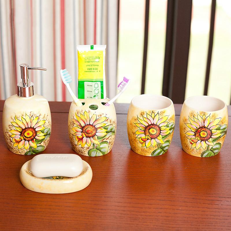 Five-piece ceramic bathroom set Hand-painted wedding wash set creative bathroom products mouth brushing cup kit lo861017 ceramic five piece set american bathroom supplies brushing cup bathroom mouthwash cup wash cup set lo7271146
