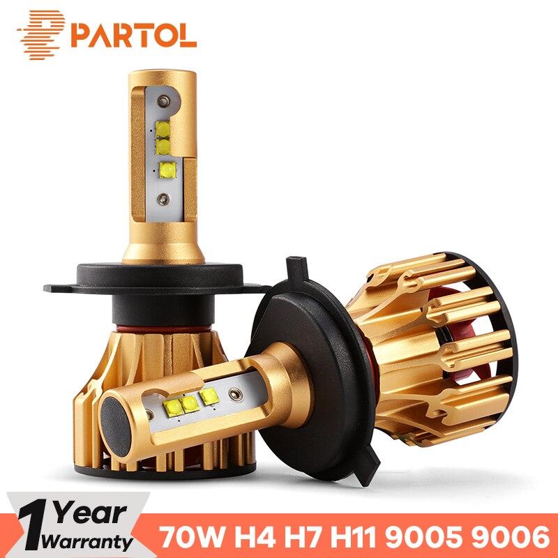 Partol T6 Hallo Lo Strahl H4 Auto LED Scheinwerfer Lampen 70 watt 7000LM LED H7 H11 SMD Automobil Scheinwerfer 9005 9006 Front Lichter 6500 karat 12 v