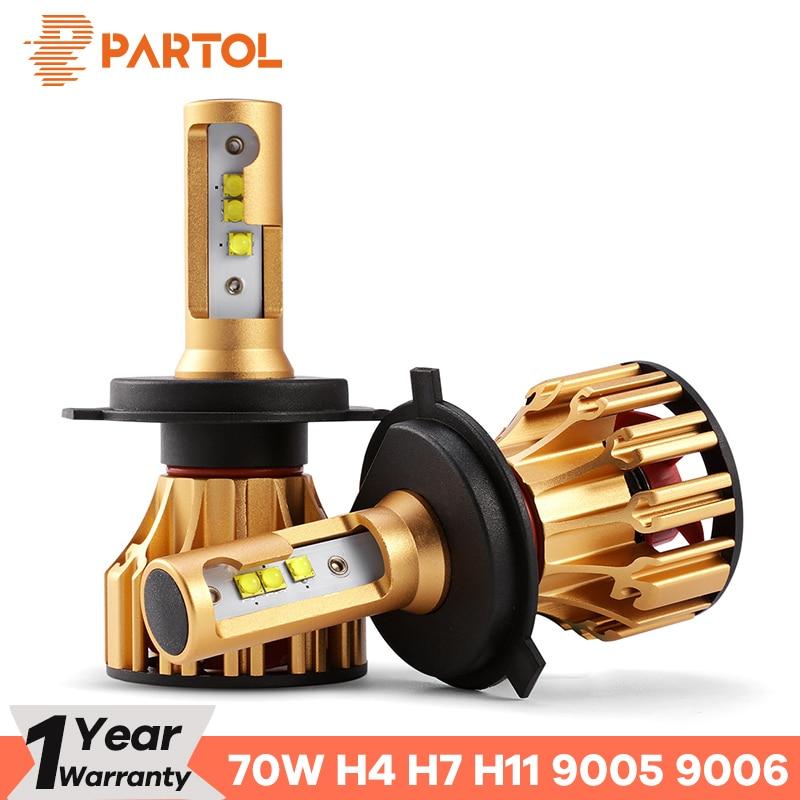 Partol T6 Salut Lo Faisceau H4 Voiture LED Phare Ampoules 70 w 7000LM LED H7 H11 SMD Automobile Phare 9005 9006 Feux Avant 6500 k 12 v