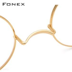 Image 2 - FONEX tytanowa ramka do okularów mężczyźni Ultralight okrągłe krótkowzroczność okulary korekcyjne optyczne ramki kobiety w stylu Vintage okulary 9120