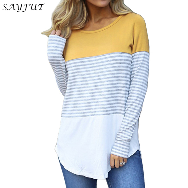 be4e24ce15c Women Long Sleeve Color Block Knits Tunics Ladies Round Neck T Shirts Block Striped  Casual Asymmetrical Black Yellow Khaki Tops