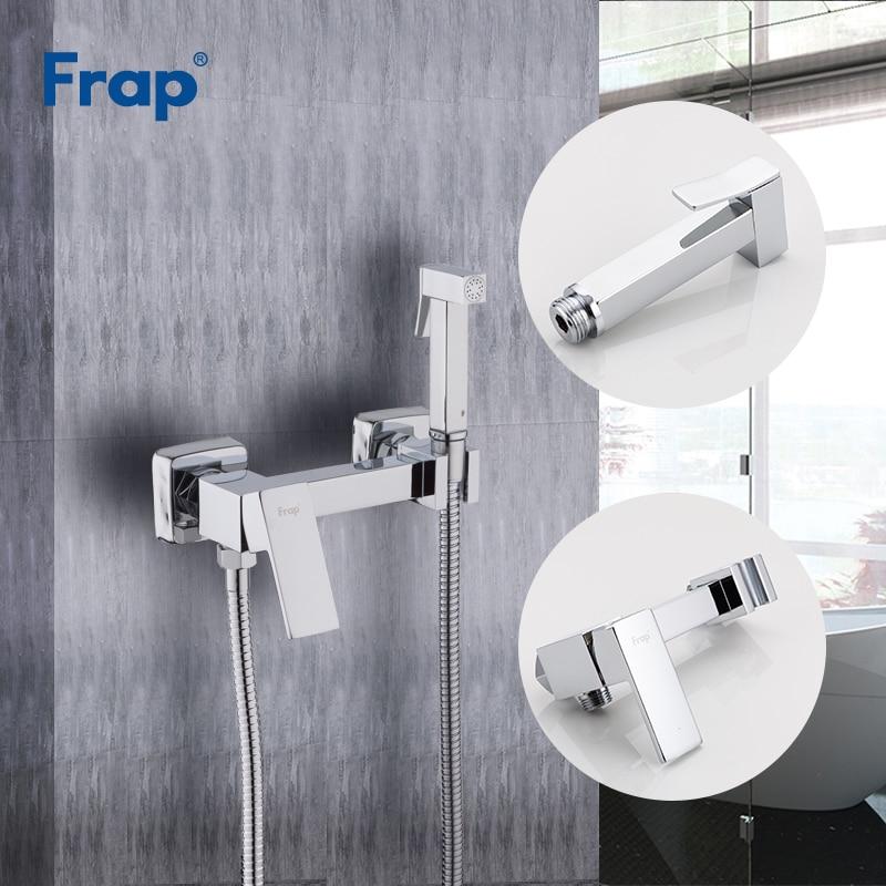 Frap New Arrival Solid Brass Chrome Bidet Toilet Faucet Shower Portable Bidet Sprayer Set Hot and