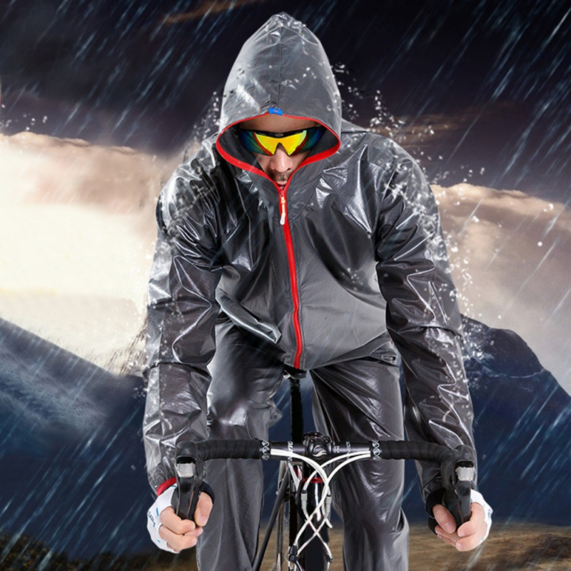 New Men Cycling Sets Waterproof Sunscreen Bicycle Ride Raincoat Pants /  Cycling Clothes Set / Outdoor Raincoats santic men s cycling hooded jerseys rainproof waterproof bicycle bike rain coat raincoat with removable hat for outdoor riding