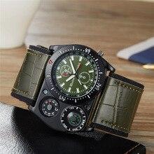 Oulm Sport Wrist Watch Men Quartz Military Clock Wide Strap PU Leather Compass Thermometer Decoration Unique