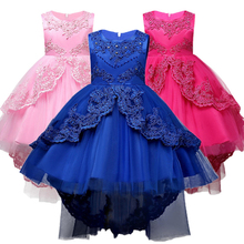 Girls Party Summer Kids Formal Children Dress Girls Clothes Flower Pageant Birthday Party Princess Dress 4 6 8 10 12 14 years 2017 new korean sweet pink blue color girls princess party dress children kids wedding birthday flowers dress pageant clothes