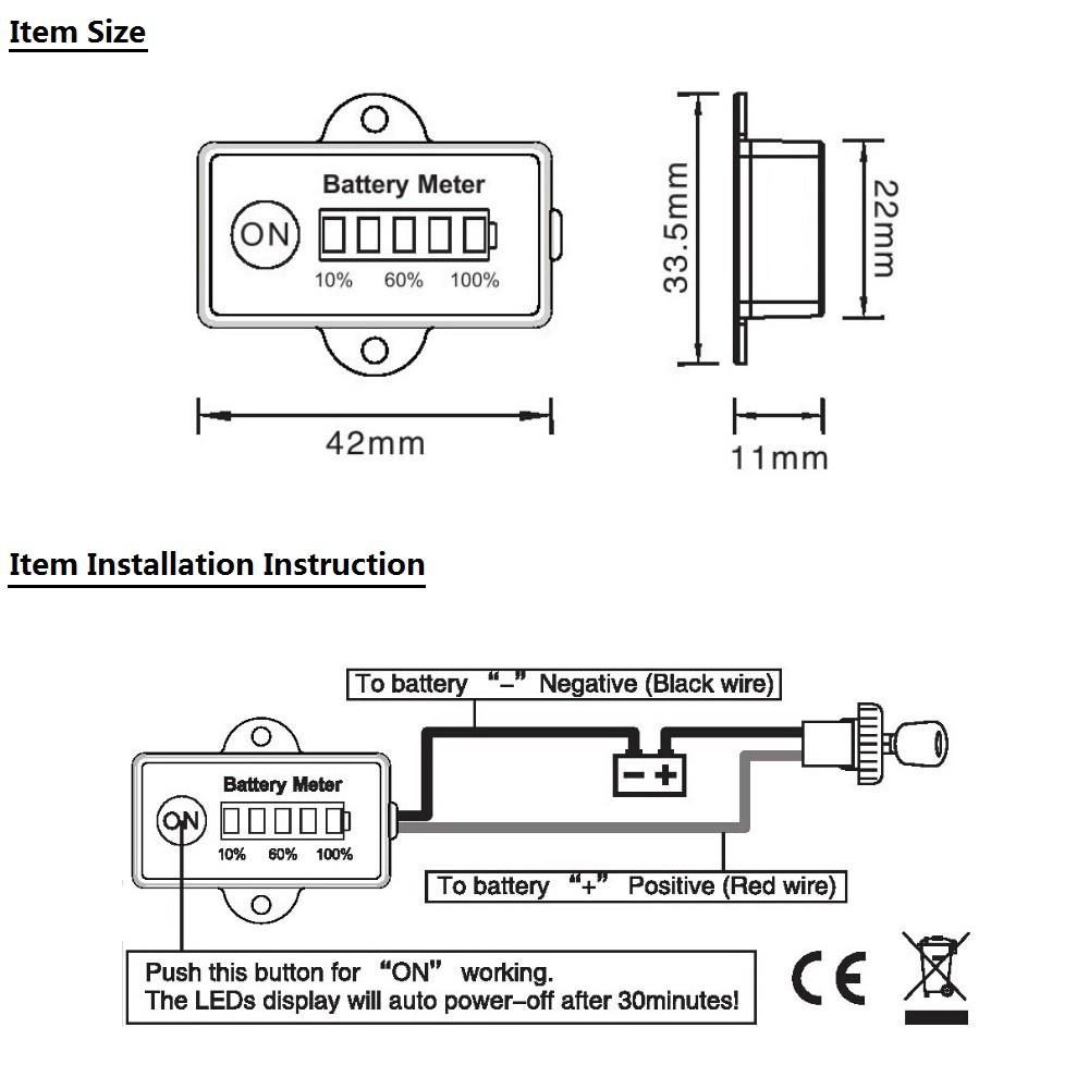 12 Volt 24 volt Mini Battery Gauge 5LED battery meter indicator for CAR  motorcycle golf cartsUSD 12.99/piece