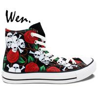 High Top Roses Skulls Original Design Converse All Star Painted Canvas Shoes Man Woman Sneakers Girl