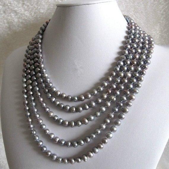 Nouveau Arriver perle bijoux culture 7-8mm couleur grise perle d'eau douce collier 80 pouces charmant femme fête cadeau bijoux