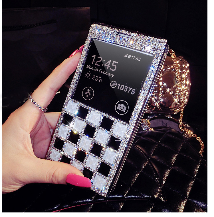 Luxury Bling Rhinestone Diamond for samsung galaxy Note3 S4 S5 i9500 wallet flip phone leather case