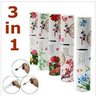 Best Gift For Your Chinese Friend! 3 In 1 Knit Chnese Style Spoon Fork Chopsticks Dinner Dinnerware set