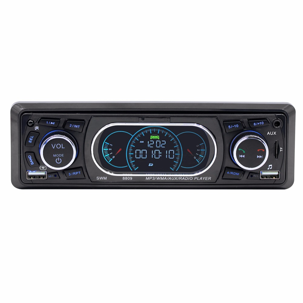 NoEnName_Null SWM 8809 Stereo Audio Remote Control MP3 Player 1 Din AUX/TF/USB FM Bluetooth Car Radio Vehicle Car MP3 Player
