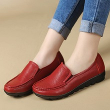 2017 New fashion women flat shoes Female Genuine Leather work shoes soft bottom comfortable Loafers Casual Driving shoes ML02