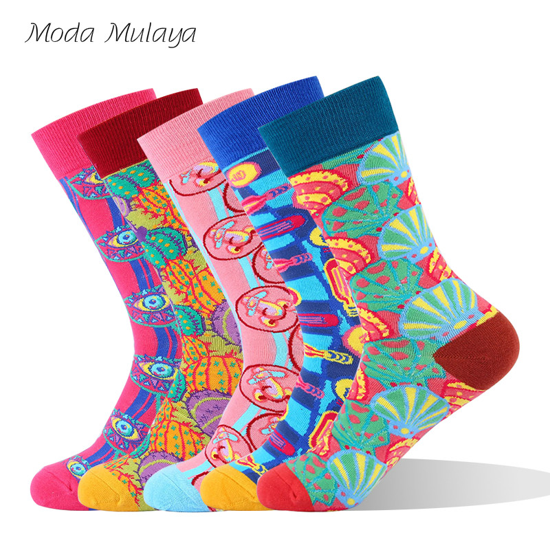 Mens Thermal Happy   Socks   High Quality Colorful Design Men Combed Cotton Funny   Socks   Novelty Skateboard   Socks   Gift for Hombre