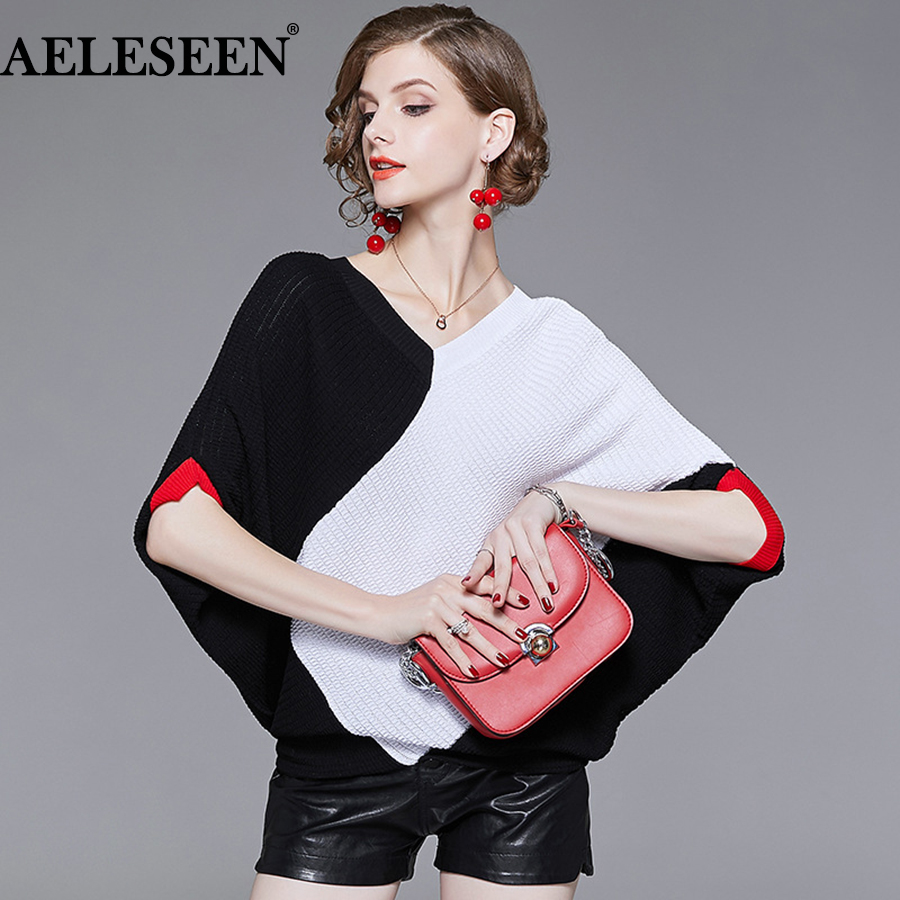 334de11f6d AELESSEN High Quality Light Knitted Sweater 2018 New Women Autumn Contrast  Color Slim Batwing Sleeve Patchwork Elegant Sweater
