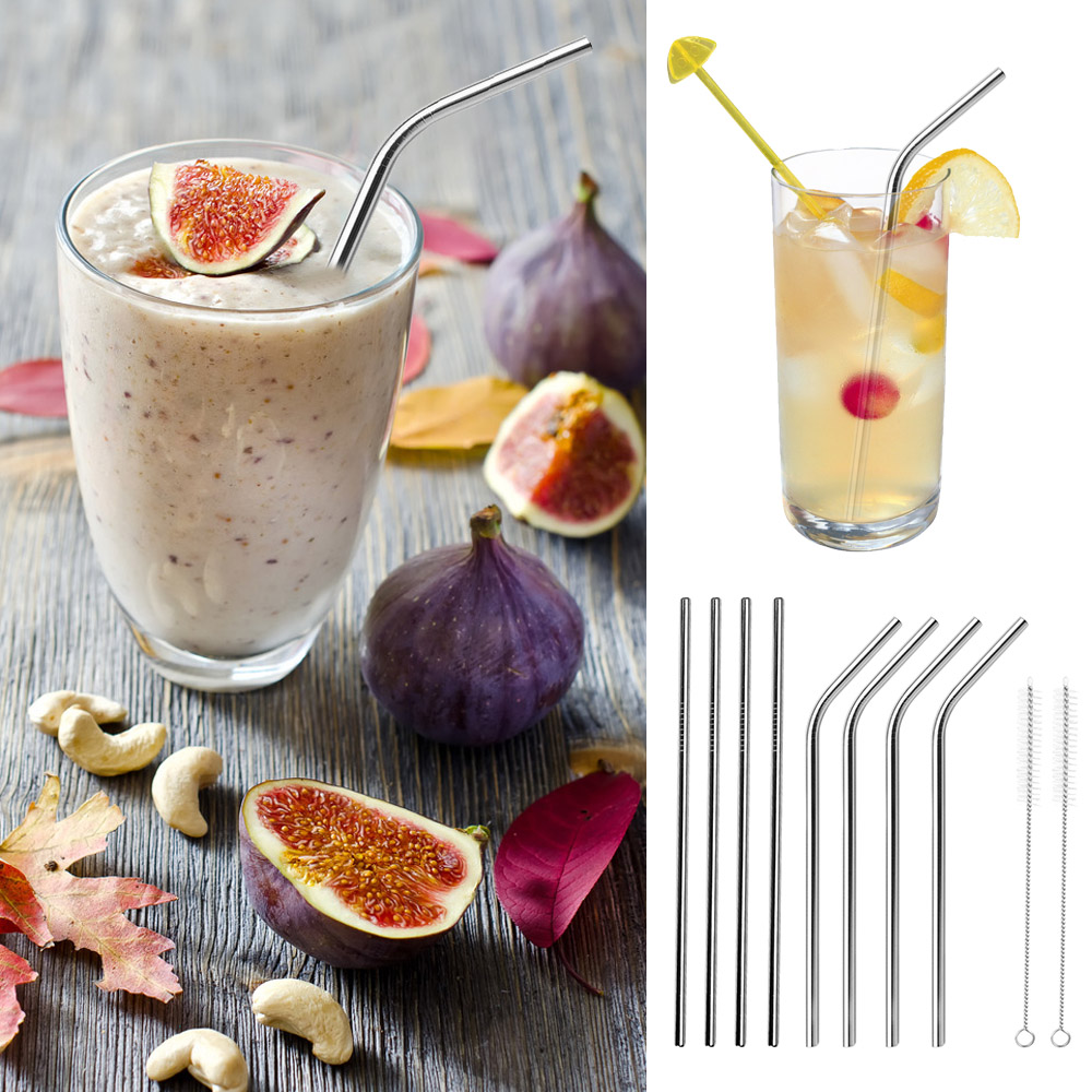 Behokic 8PCS Straight Bent <font><b>Stainless</b></font> <font><b>Steel</b></font> Reusable Long Drinking Straw for <font><b>30</b></font> <font><b>oz</b></font> <font><b>yeti</b></font> <font><b>Tumbler</b></font> Rambler <font><b>Cup</b></font> with 2 Cleaning Brush