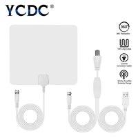 YCDC Flat HD TV Amplified Indoor Digital TV Antenna High Gain HDTV 50 Miles Range ATSC DVB ISDB Detachable Signal Amplifier