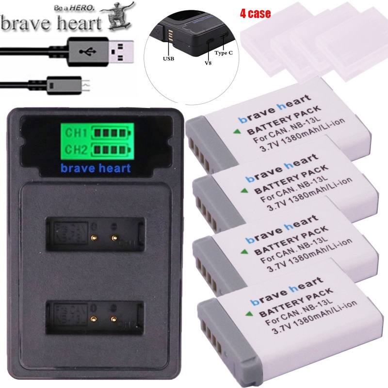 4x NB-13L NB 13L Battery + TYPE-C LCD DUAL Charger For Canon G7X G9X G5X G7X Mark II G9X Mark II SX620 HS SX720 HS