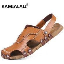 Ramialali/ мужские кожаные сандалии Летняя Повседневная обувь ручной работы на плоской подошве пляжные сандалии Мягкие Мокасины мужские сандалии больших размеров 37-45