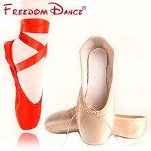 Prix Discount Vente Chaude Femmes de Ballet Pointe Chaussures De Danse Rouge rose Satin Filles Professionnel Chaussures de Danse de Pointe avec Gel Toe Pad