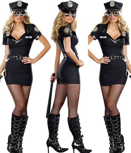 40dbae461e1 New Ladies Police Fancy Halloween Costume Sexy Cop Outfit Woman Cosplay  Sexy Erotic Lingerie Police Costumes for Women