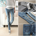 840# Scratch Hole Light Blue Denim Maternity Jeans 2017 Summer Pencil Pants Clothes for Pregnant Women Pregnancy Belly Trousers