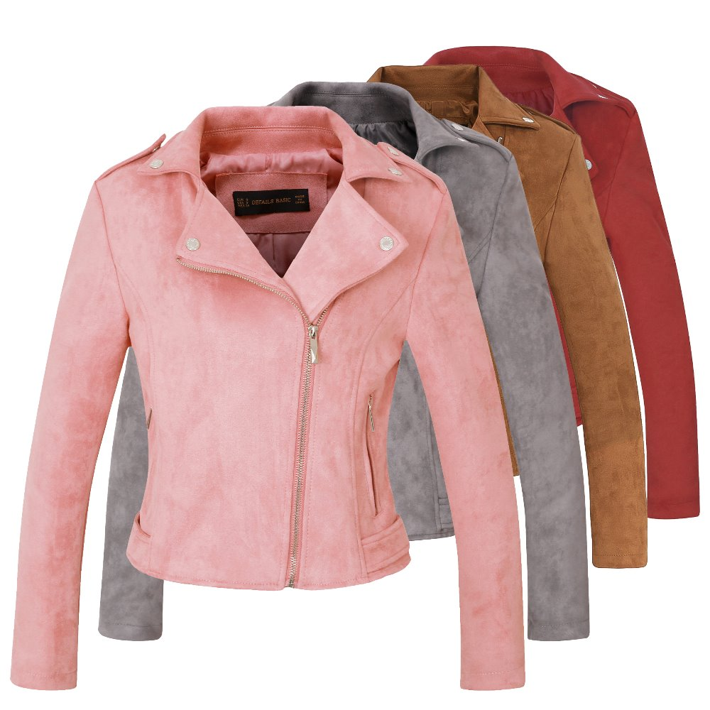 2018 New Elegant Autumn Winter Zipper Basic   Suede   Jacket Coat Motorcycle Jacket Women Outwear Pink Slim Short Winter Jackets