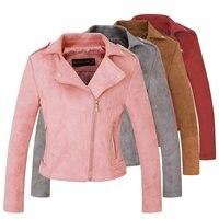 2018 New Elegant Autumn Winter Zipper Basic Suede Jacket Coat Motorcycle Jacket Women Outwear Pink Slim Short Winter Jackets