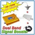 Pantalla LCD 3 G W-CDMA 2100 Mhz + GSM 900 Mhz Dual Band teléfono móvil amplificador de señal, teléfono celular repetidor de señal + antena + Cable