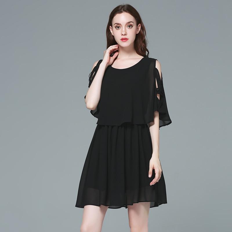 MUSENDA Plus Size Women Chiffon Off Shoulder Tunic Draped Black Short Dress  2017 Summer Sundress Lady Casual Beach Brief Dresses-in Dresses from Women s  ... 5c9857bc974a