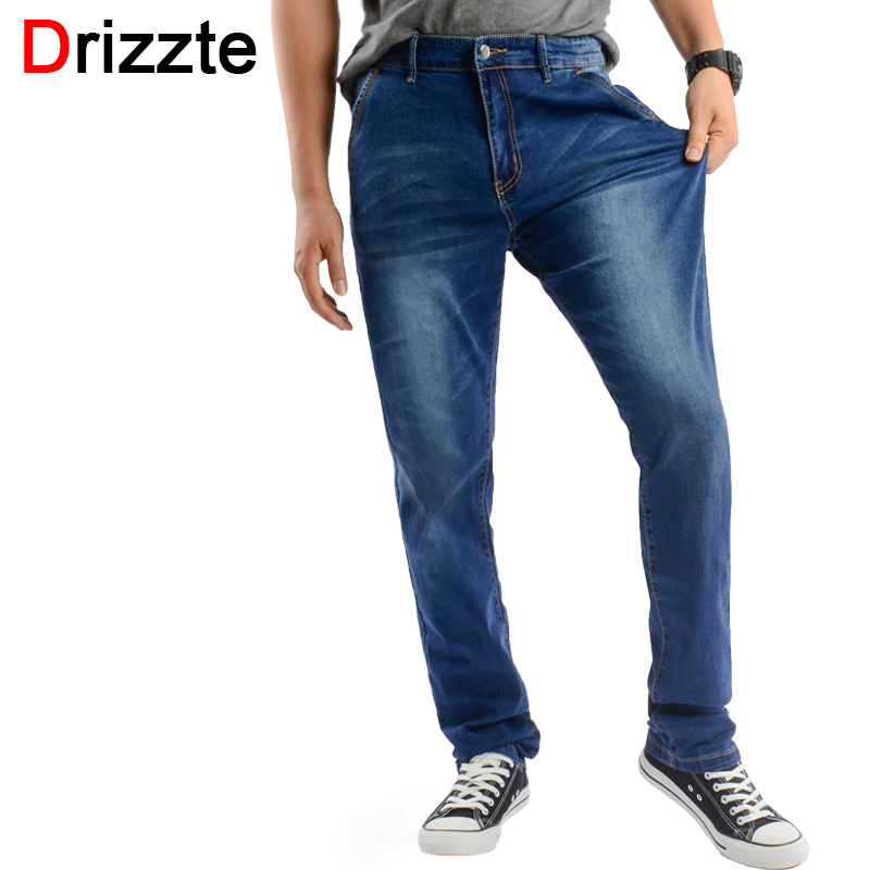 Drizzte Jeans Men Plus Size 40 42 44 46 48 Designer Cotton Stretch Denim Large Big Size Pants Trousers Big Pocket Jean For Work