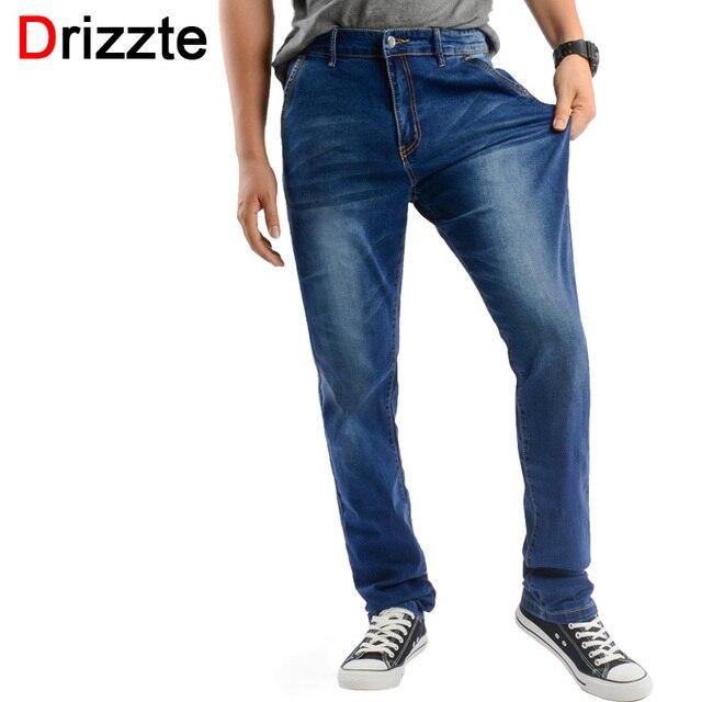 fbbec3054 Drizzte Jeans Men Plus Size 40 42 44 46 48 Designer de Algodão Denim  Stretch Calças