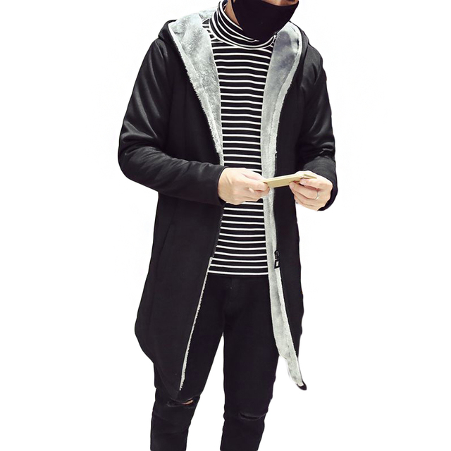 2017 пальто Мода Одного Куртка Пальто Мужчины Тонкий Мужчины мода Капюшоном Из Искусственного Флис Пальто Молния Зимняя Повседневная С Длинным Пальто толщиной