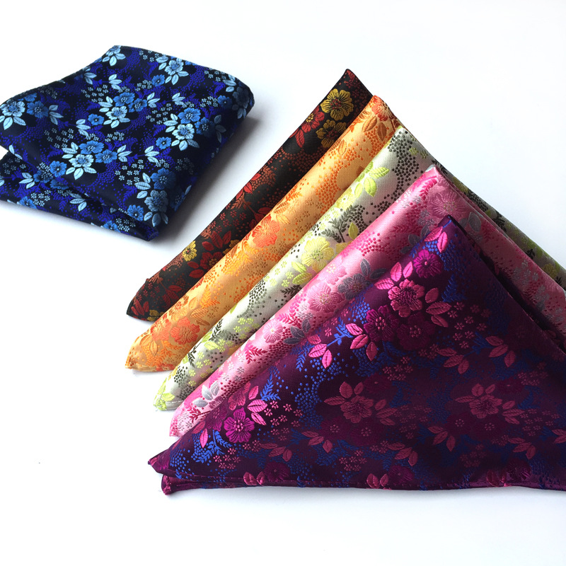 FB01-15 High Quality Men's 100% Silk Handkerchief Floral Flower Pocket Square Hanky Prom Wedding Party Chest Towel Hankies Gift