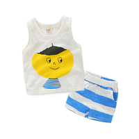 Toddler Boys Clothing Summer Cute Cartoon White Top Vest Striped Shorts 2pcs Casual Sports Soft Cotton