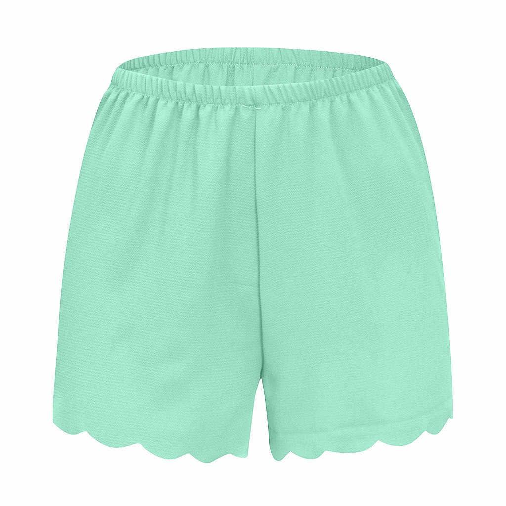 2019 nowe szorty damskie letnie luźne stałe elastyczny pas zapiekanka na co dzień szorty szyfon Spodenki krótkie Feminino szorty