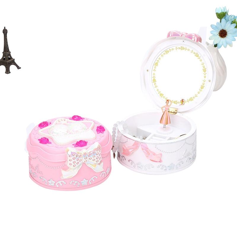 Bow Dance Girl Music Boxes Gemini Girl Jewelry Box With Mirror Girls Carousel Hand Crank Luminescent Music Box Mechanism Gifts