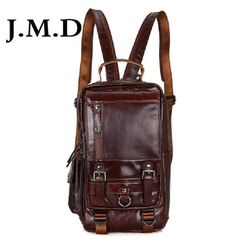 J.M.D Tanned Leather Mens Multifunction Backpack For Student School Girl's Backpacks Travel Bag 2002