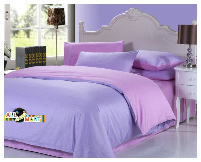 Free Shipping 4pcs Cotton Contrast Color Bedding Set Pink