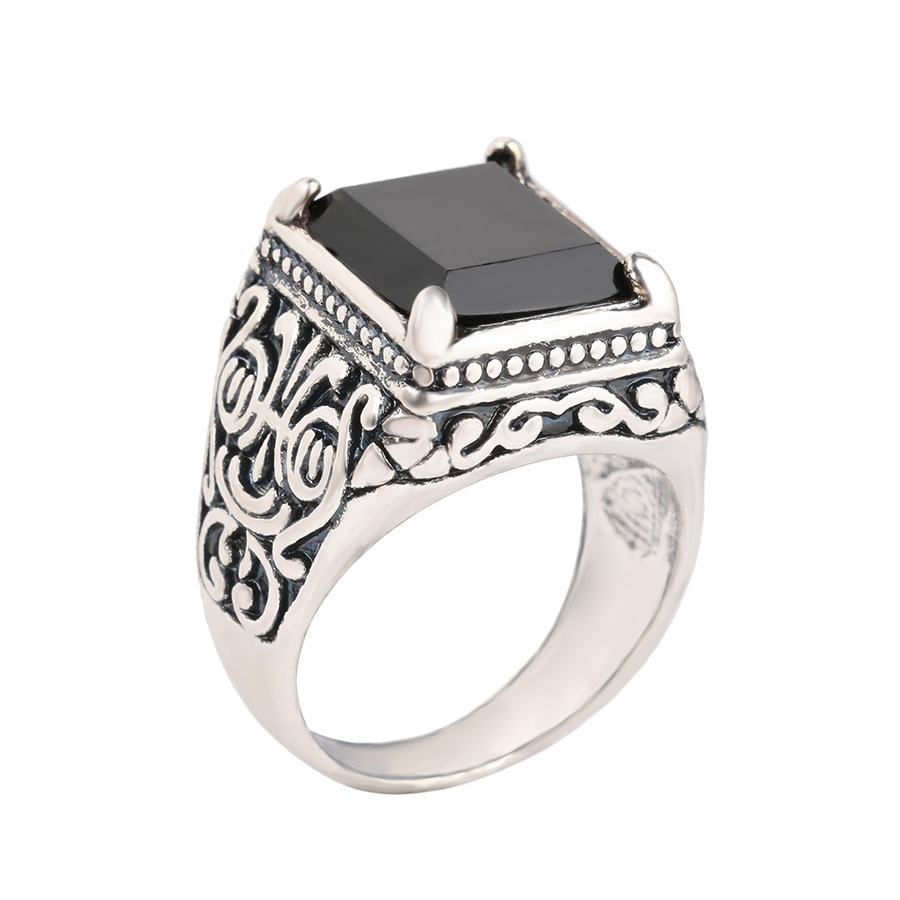 One ring big black / silver carved antique female retro texture red ring engraved wholesale flame ring