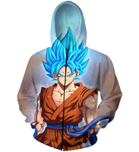 Klassische Anime Dragon Ball Super Saiyan 3D Hoodies Reißverschluss Oberbekleidung Cartoon Goku mit Kapuze Sweatshirt Zip Up Hoodie 14 Stil
