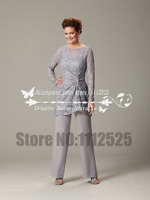 gray lace and chiffon two piece mother of the bride. Black Bedroom Furniture Sets. Home Design Ideas