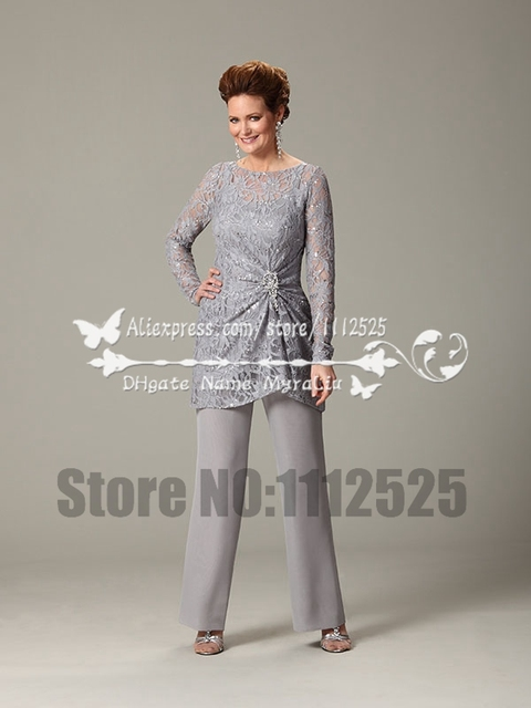 Gray Lace And Chiffon Two piece mother of the bride dresses pant ...