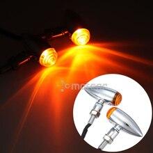 цена на 2x Chrome Motorcycle Mini Bullet Turn Signal Light Indicator Amber Blinker 10mm Fit For Harley Choppers Metric Bobber Cruiser