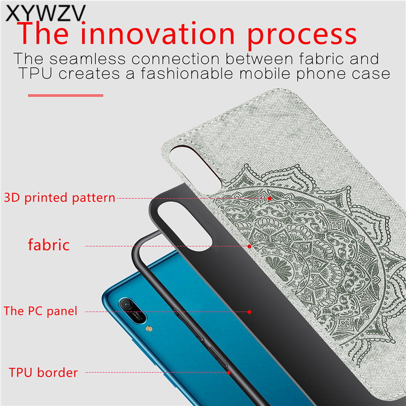 Image 3 - Huawei Y6 Pro 2019 Shockproof Soft TPU Silicone Cloth Texture Hard PC Phone Case For Huawei Y6 Pro 2019 Cover Huawei Y6 Pro 2019-in Fitted Cases from Cellphones & Telecommunications