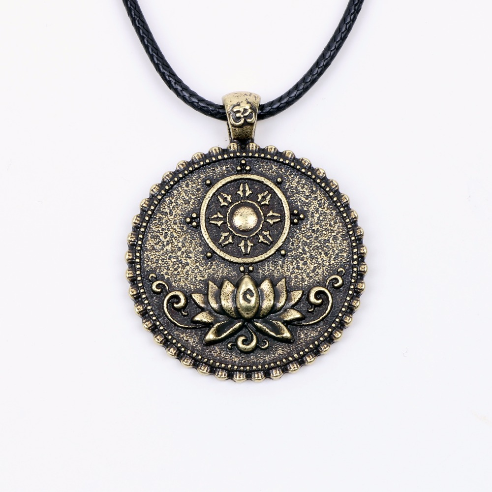 Yoga lotus flower om necklace pendant tibetan buddhist ganesha yoga lotus flower om necklace pendant tibetan buddhist ganesha mandala dharma wheel tree of life talisman religious jewelry in pendants from jewelry aloadofball Gallery