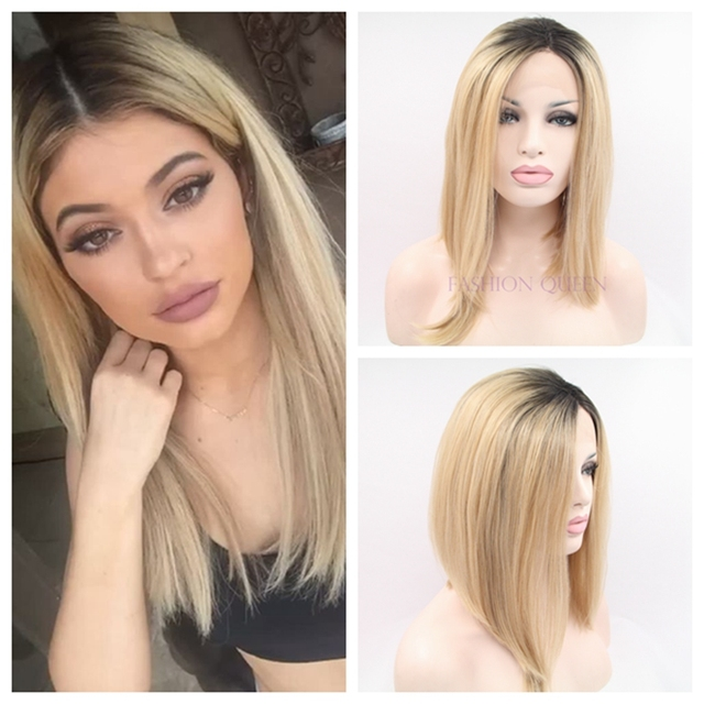 Kylie Jenner Short Hair Bob Wig 10 16 Inch Dark Root Black Blonde Ombre