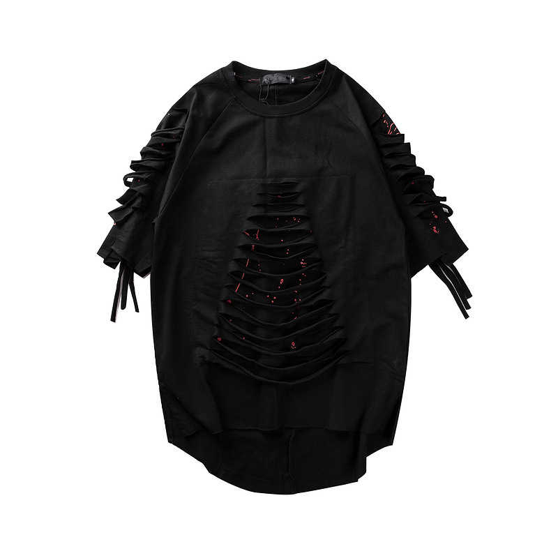 성격 남자 힙합 반팔 Streetwear T 셔츠 크리 에이 티브 해골 인쇄 그물 구멍 바느질 디자인 탑스 티셔츠 코튼 Q0068