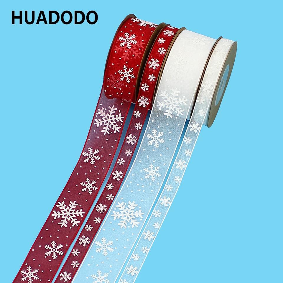 "HUADODO 10 מ""מ 25 מ""מ אורגנזה סרט פתית שלג חג המולד סרטי בעבודת יד DIY מתנת גלישת קישוט סיטונאי 10 מטרים\חבילה"
